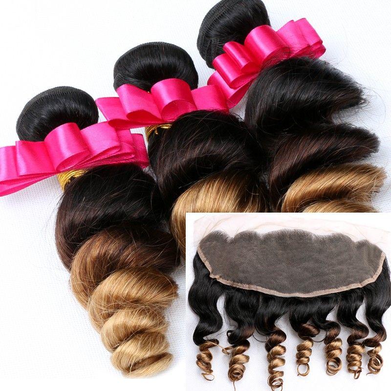 Свободные волны перуанский Ombre пучки человеческих волос с фронтальной # 1b / 4 / 27 мед блондинка Ombre ткет 3 шт. С 1шт 13x4 кружева фронтальной закрытия