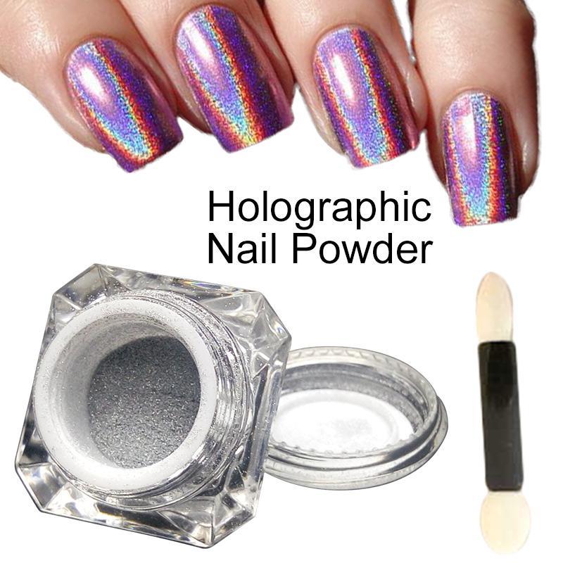 Polvere olografica del laser dei pigmenti dell'argento di Wholesale-1g / Box 3D Shiny Glitter per polvere di arte del gel del polacco dell'arcobaleno Chrome Shimmer
