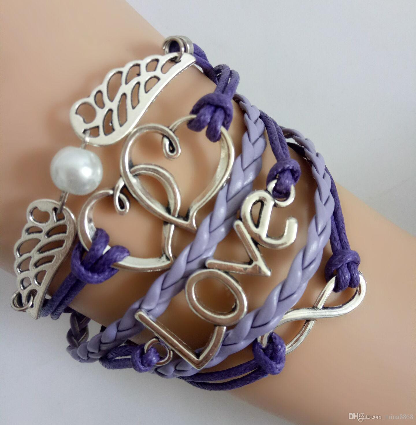 Wholesale Fashion purple lmultilayer Wrap Leather Bracelet Punk Infinity LOVE Anchors Charm Bracelets for women & men Statement Jewelry