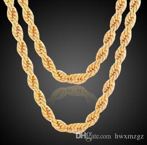 Cadena de cuerda con relleno de oro 18ct, para hombres / mujeres, 5 mm (cinco) de ancho, 20 pulgadas de longitud