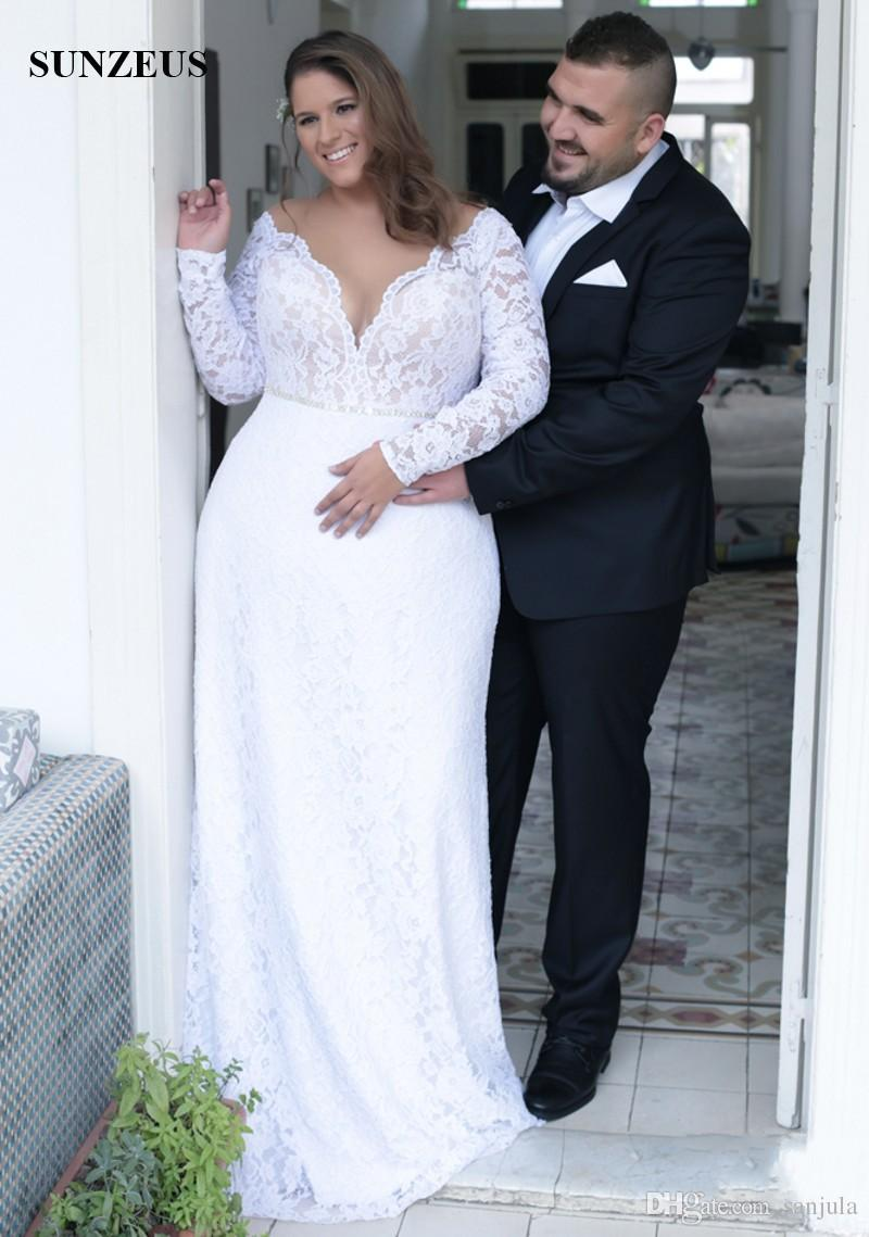 Großhandel Mantel Illusion Neck Langarm Plus Size Brautkleider Große ...