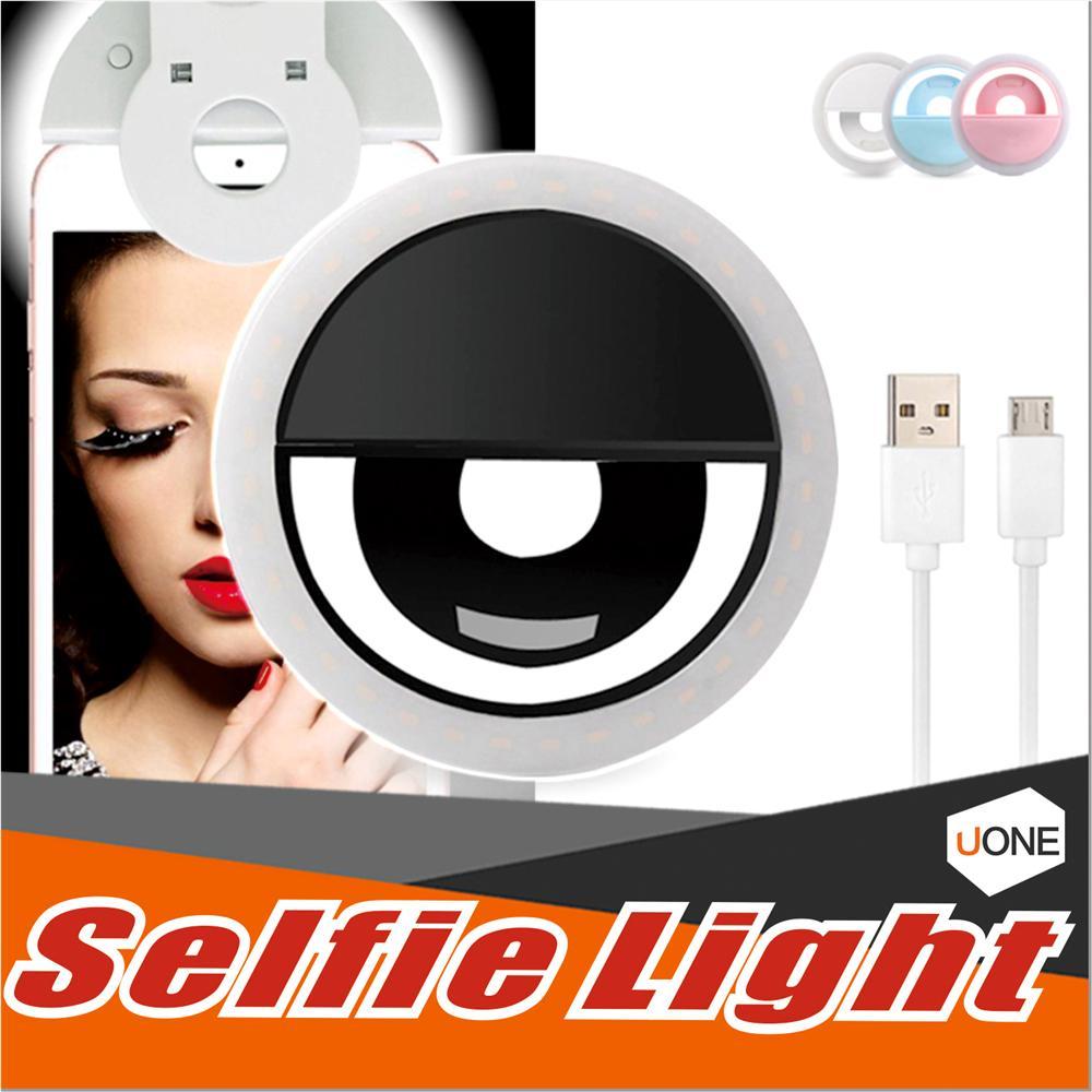 Şarj edilebilir Selfie Işık Halkası Taşınabilir Ayarlanabilir Parlaklık Perakende Paketli Pil Artırıcı Fotoğraf Verimli Dört Renk ile Led
