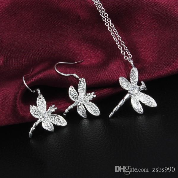 Best-Selling 925 Silver Zirkoon Dragonfly Ketting Oorbellen Sieraden Set Gratis verzending 10 Set