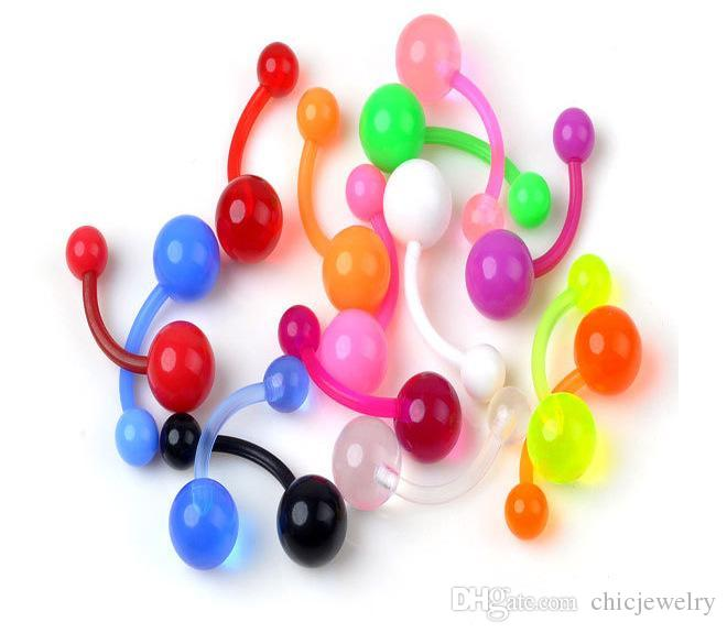 Конфеты цвет пирсинг ювелирные изделия гибкий пупок бар кольца смешанные пупок пирсинг ювелирные изделия тела пупок колокол кнопки кольца 9 цветов