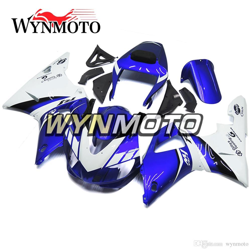 Бесплатные изготовленные на заказ ABS-пластики полные обтекатели для Yamaha YZF 1000 R1 YZF1000 2000 2001 Обвесы для мотоциклов Синий Белый Кузов