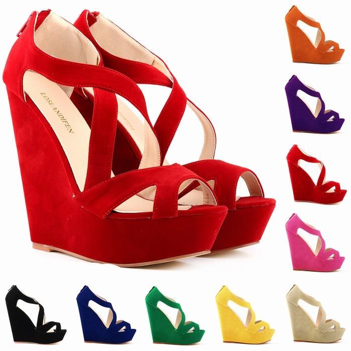 Chaussure Femme Fashion Women Cut Out Faux Suede Platform Pumps Peep Toe High Heels Wedge Shoes Sandals Size 35-42 D0083