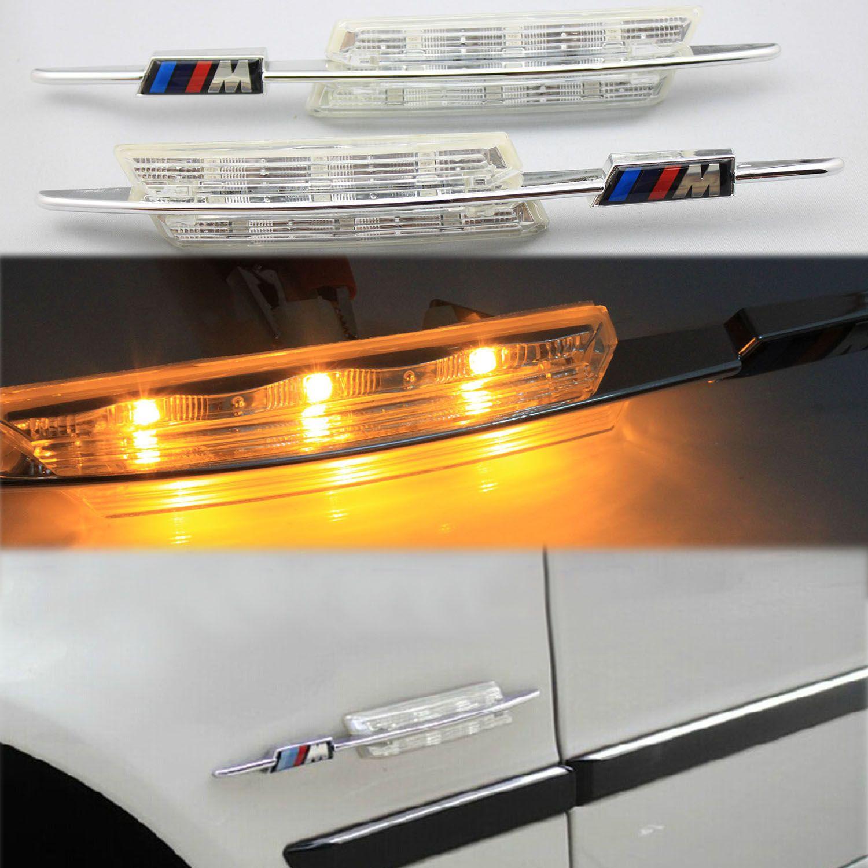 BMW E60 E61 E81 E82 E87 E88 E90 E91 E92 E93를위한 2017 최신 M Perfomance 크리스탈 블랙 렌즈 회전 신호 빛 LED 사이드 마커 코너링 램프