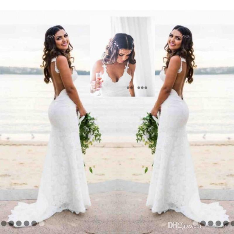 Sexy Lace Wedding Dresses Country Style Count Train Deep V Neck Backless Wedding Dress Hoho Cheap Handmade Mermaid Bridal Gowns Simple Wear Petite Wedding Dresses Pink Wedding Dresses From Click Me 128 99 Dhgate Com