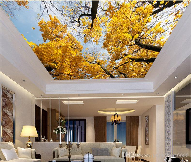 3D سقف خلفية لغرفة النوم جدران 3D خلفية مخصصة للأسقف ارتفاع واضح السماء شجرة 3D خلفيات سقف لغرفة المعيشة