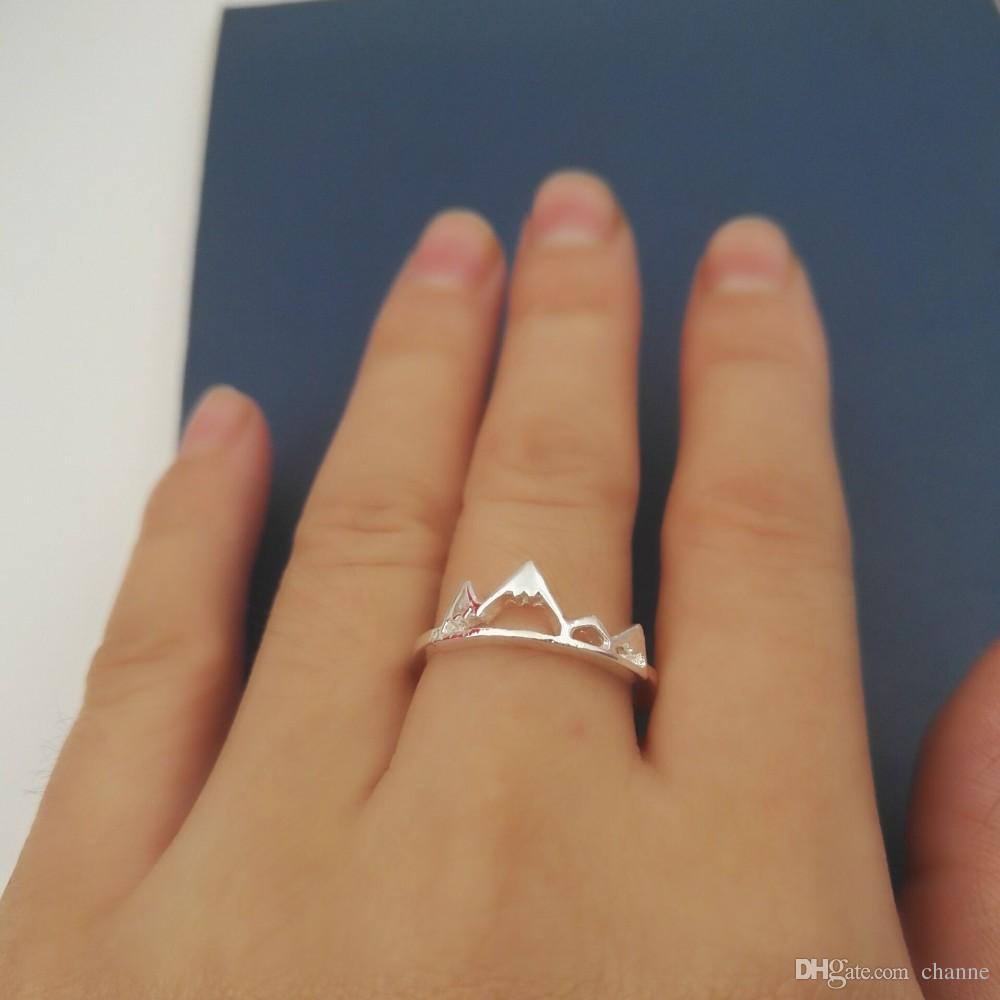 pico del anillo chapado en plata de joyería de moda anillo de montaña todos los días para las mujeres delicada joyería anillos de regalo