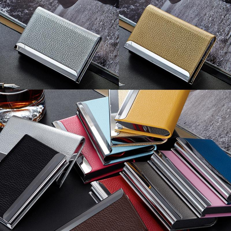 Stainless Steel PU Leather Men's Credit Card Holder Women Metal Bank Name Business Card Case Card Box