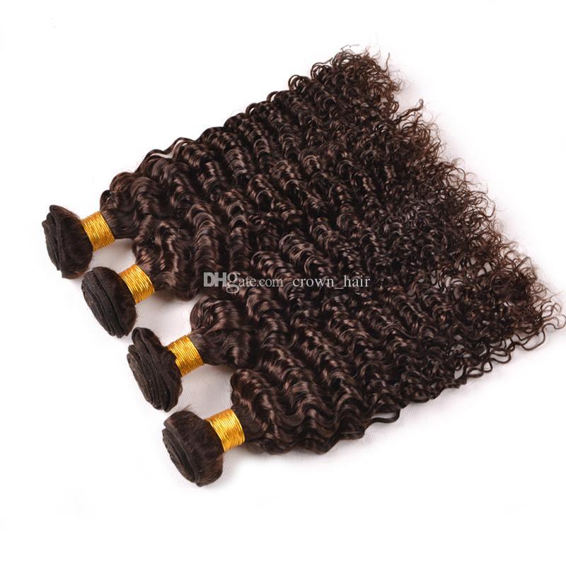 ダークブラウンブラジルのバージンヘアピュアカラー#4深い波の人間の髪4束チョコレート茶色の深い巻き毛の延ばす4pcs /ロット