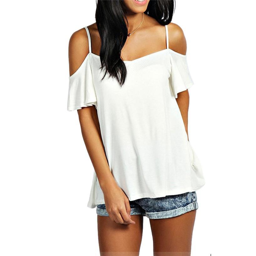 Toptan-Muhteşem Yaz T Shirt Rahat Katı Streç Blusas T Shirt Off Omuz Kapalı Kadınlar Için Tops Yaz