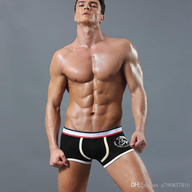 4 pcs Marque sexy hommes Sous-vêtements Sous-vêtements Hommes Coton Boxer Bermudas Boxers pénis Pouch WJ U Convex Man Bobette taille NS007