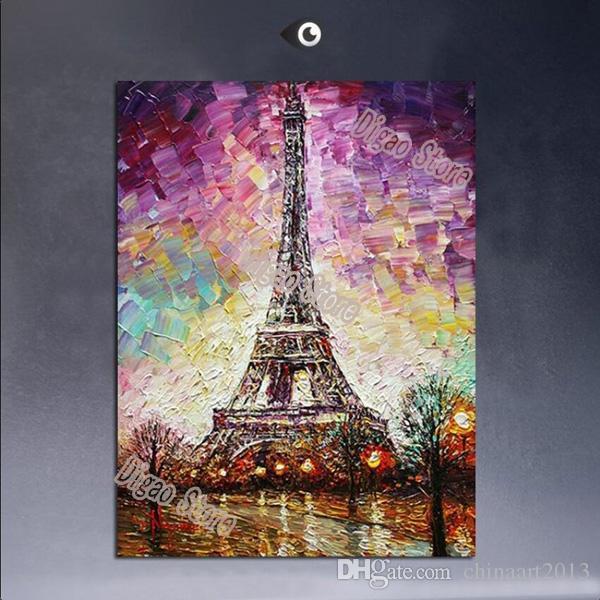 100% peint à la main tour paysage peinture à l'huile sur toile peintures abstraites modernes maison mur art décoration cadeau
