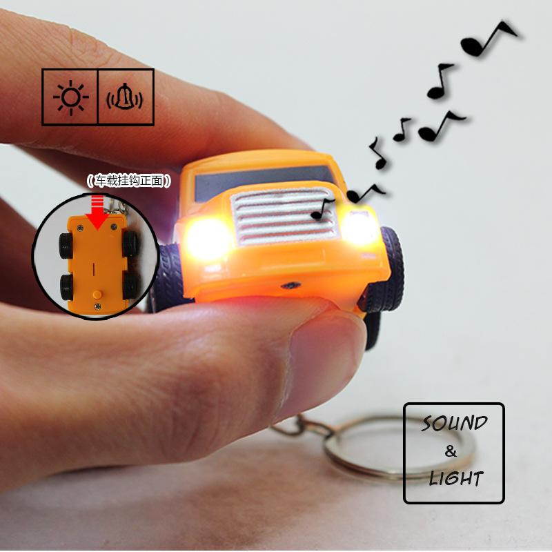 Hummer car accessories Creative cartoon bus LED luminous key chain Promotional gifts wholesale