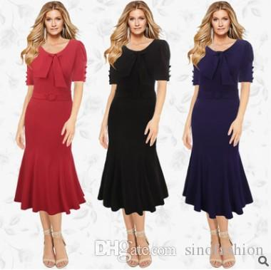 Summer Long Dress Mermaid Dresses Hot Sale Elegant Bow Collar Button Decoration Casual Promotion Brand Clothing Plus Size Top Fashion