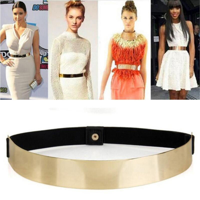 Sexy Lady Women Elastic Mirror Metal Waist Belt Metallic Bling Gold Plate Wide Band For Women Female Accessories Dress Free Shipping