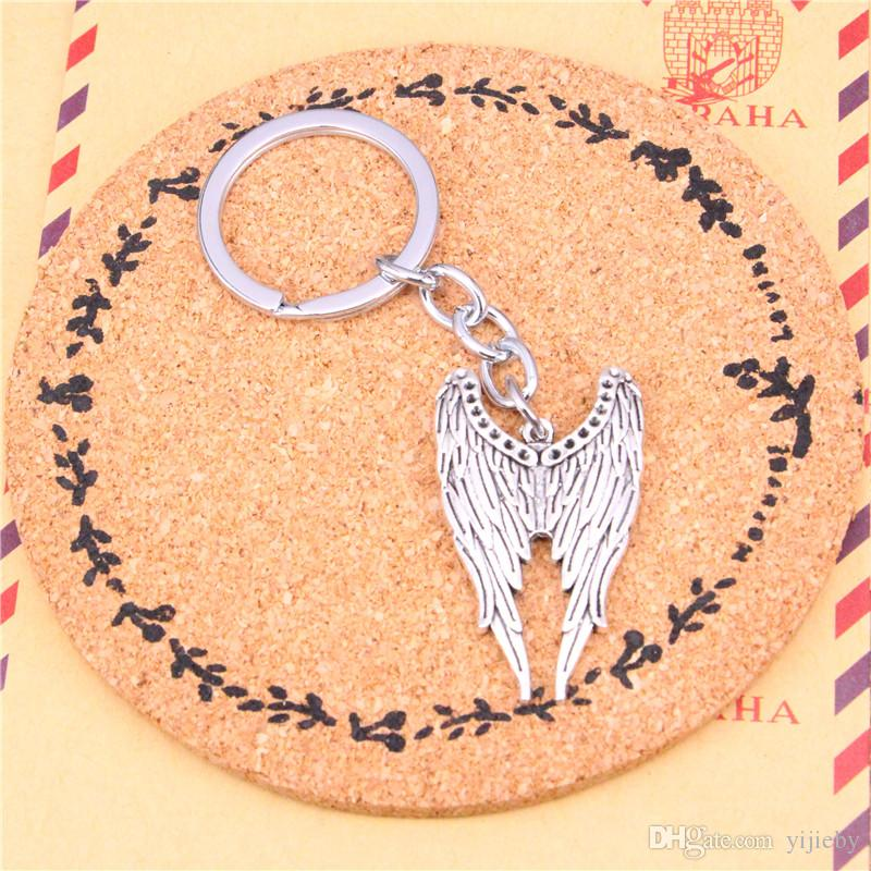 New Fashion Car Keychain Silver Color Metal Key Chains Accessory, Vintage angel wings Key Rings