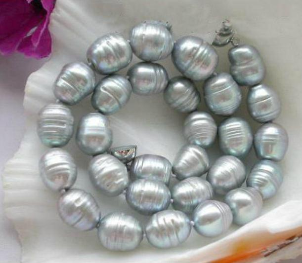 Natural 10-11mm Big White Cultural Pearl Necklace Leather Chain Growing String