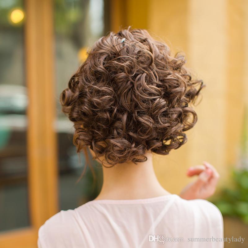 Güzel Kızlar ve kadın Klip Moda Büyük saç topuz Peruk Kıvırcık saç Chignon lüks şapkalar Moda At Kuyruğu Scrunchie Kadınlar Hairpieces