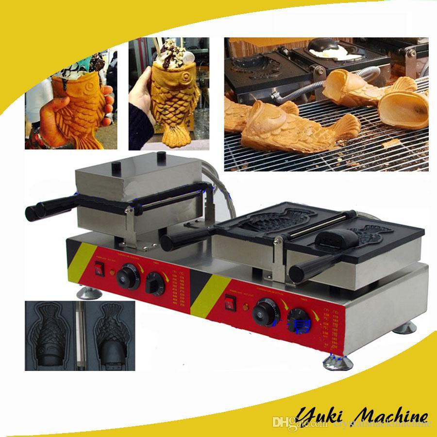 Balık waffle makinesi dondurma balık şekli waffle baker ticari açık ağız taiyaki yapımcısı elektrikli büyük ağız taiyaki pan