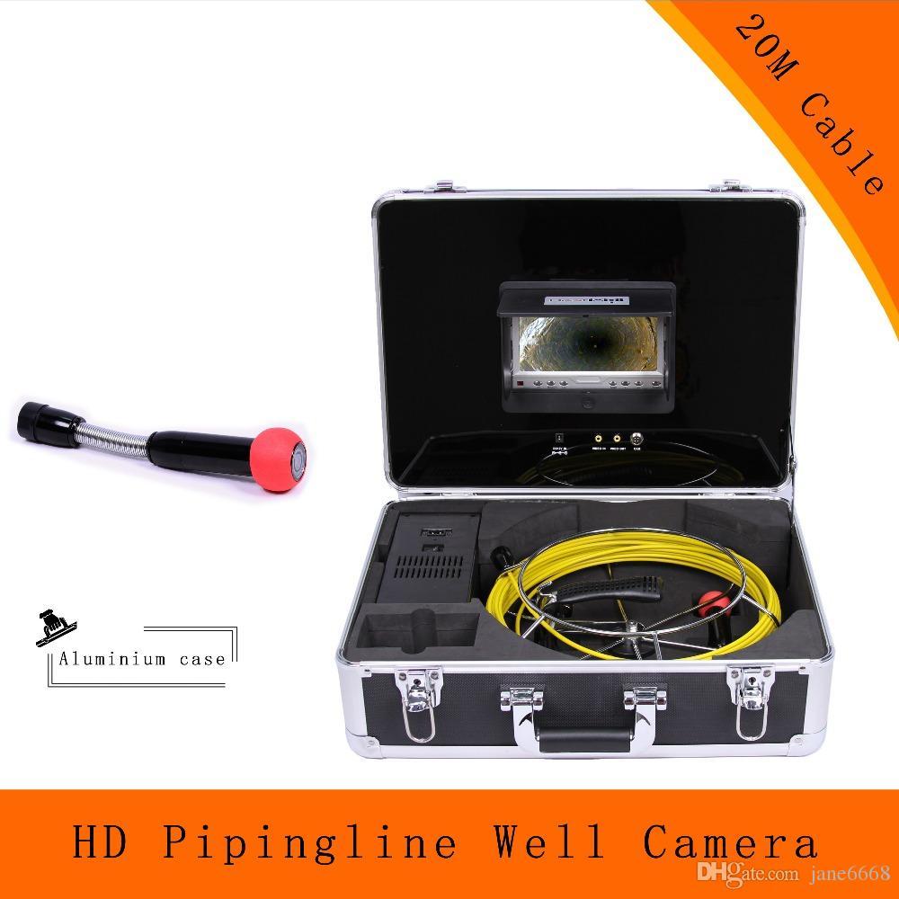 (1 مجموعة) 20 متر كابل تحت الماء جيدا المنظار كاميرا 7 بوصة نظام التفتيش المجاري ليلة النسخة الصناعة 1100TVL CCTV