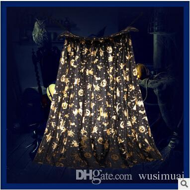Halloween Cosplay Costumes 80cm Kids Cloak Golden Witch Pumpkin Printing Classical Modeling Cape Masquerade Party Wear 5 Color