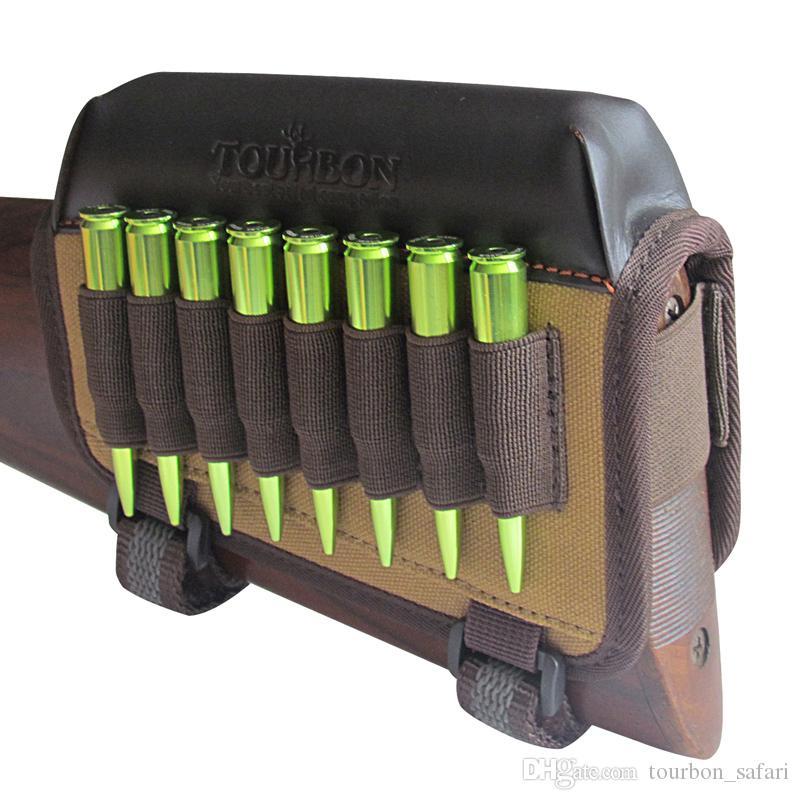 Accesorios de pistola de caza Tourbon Arma de rifle Culata de almohadilla de descanso de mejilla con cartuchos de munición Titular zurdo