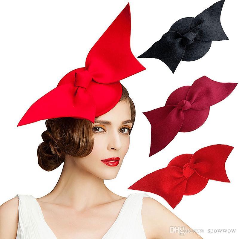 Dames Fantaisie Feutre De Laine Disque Grand Bowknot Fascinator Eglise Robe Cocktail Fête Couleur Unie Chapeau A194