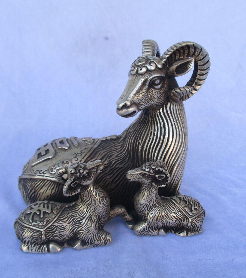 christmas decorations for home+ Collectible Tibetan silver 3 lucky sheep statue/Chinese Folk art sheep Sculpture