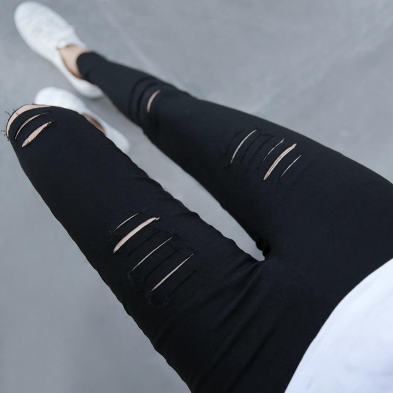 Women Ripped-holes Pants Spring Summer Black High Waist Elastic Pencil Pants Jeans