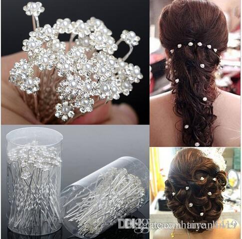 Düğün Aksesuarları Gelin Takı Gelin İnci Tokalar Çiçek Kristal Inci Rhinestone Saç Pins Klipler Nedime Kadınlar Saç Takı