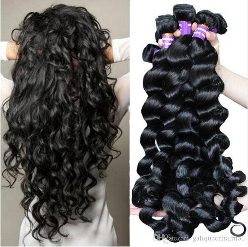 İşlenmemiş Brezilyalı İnsan Remy Virgin Saç Gevşek Dalga Saç Saç Uzantıları Doğal Renk 100g örgüleri / paket Çift atkıların 3Bundles / lot