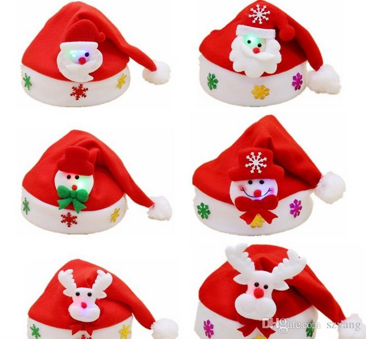 Christmas Hats For Kids.Non Woven Kids Christmas Hat With Led Light Cartoon Applique Santa Deer Snow Pattern Hats Christmas Holiday Supplies Best Xmas Decorations Big