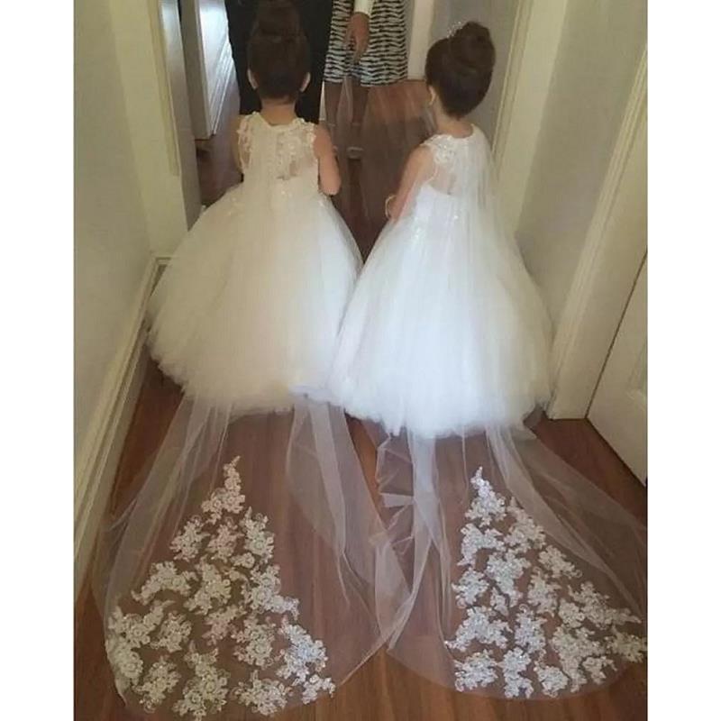 2017 Дизайнер Цветочная девушка Платья для свадеб Puffy Бальное платье Тюль Маленькое детское платье для девочек с цветком для девочек на заказ
