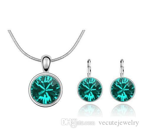 18K White Gold Plated Round Swarovski Crystal Necklace Earrings Jewelry Sets for Women Wedding Bridal Rhinestone Jewelry Sets Wholesale
