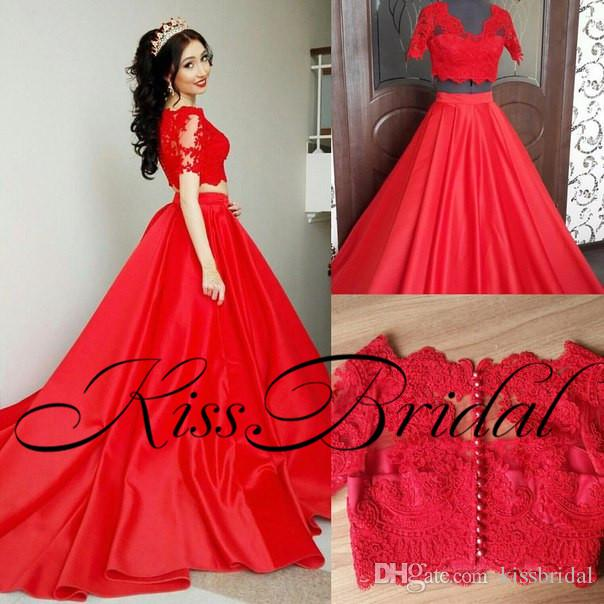 Two Pieces Red Prom Dresses Lace Short Formal Evening Gowns Jewel Neck Sweep Train Satin Party Gowns