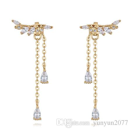 Sale High Quality Unique Designer Luxury Real Gold Zircon Tassel Water Drop Angel Wings Fashion Jewelry Accessories Stud Earrings For Women