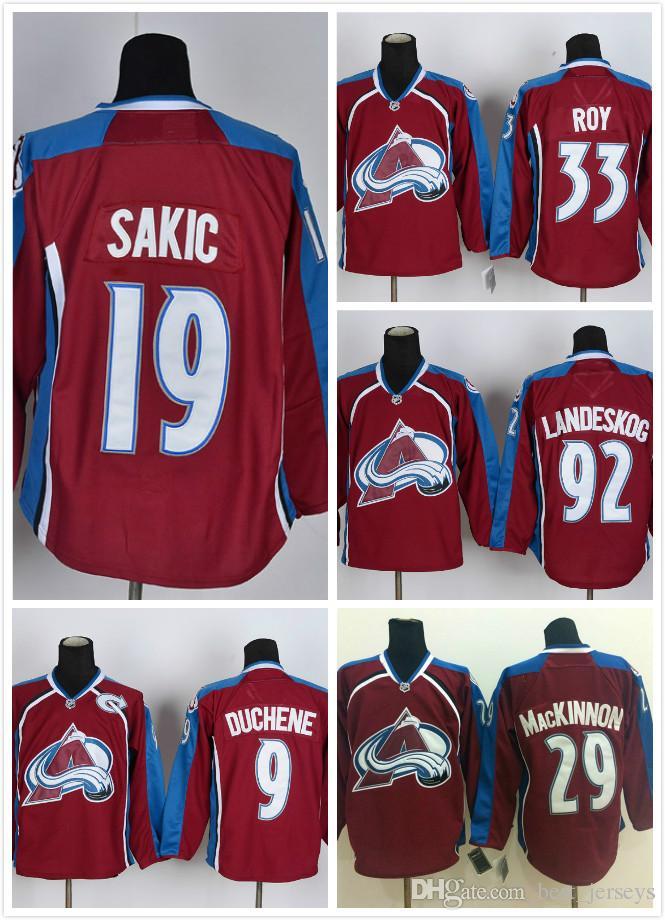 Колорадо лавина #9 Мэтт Дюшен 19 Джо Сакик 29 Натан Макиннон 33 Патрик Рой 92 Габриэль Ландеског Красный НХЛ хоккейные майки дешевые
