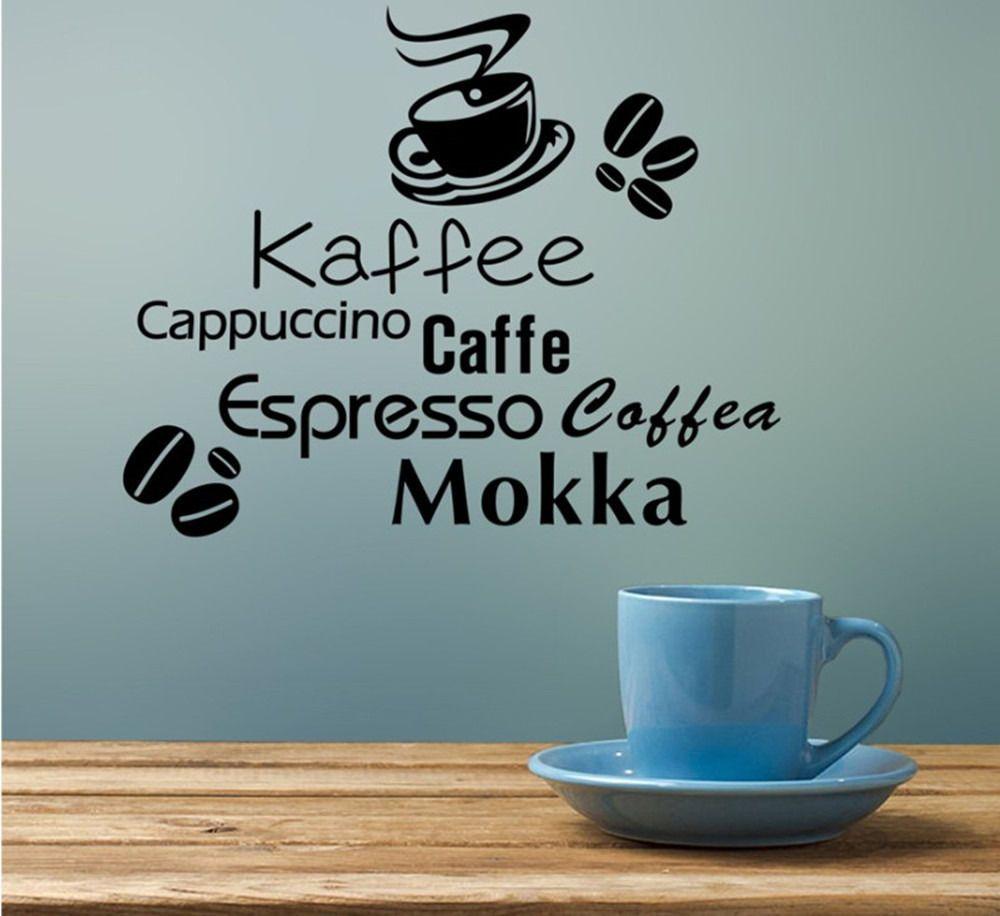 Wholesale Diy Black Coffee Kaffe Vinyl Wall Art Sticker Quote Wall ...