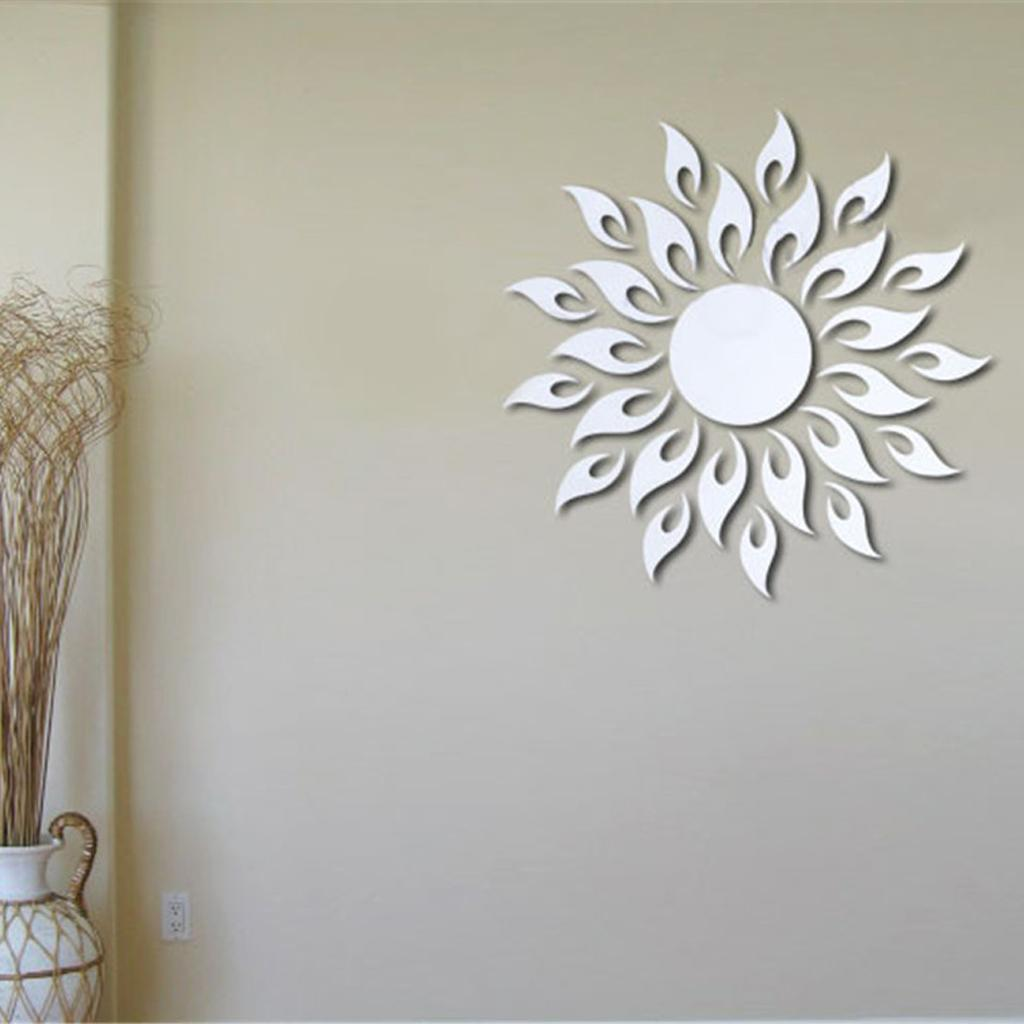 new hot sale mirror style removable decal art mural wall sticker  - new hot sale pcs mirror style removable decal art mural wall sticker homedecor sun diy creative home decoration