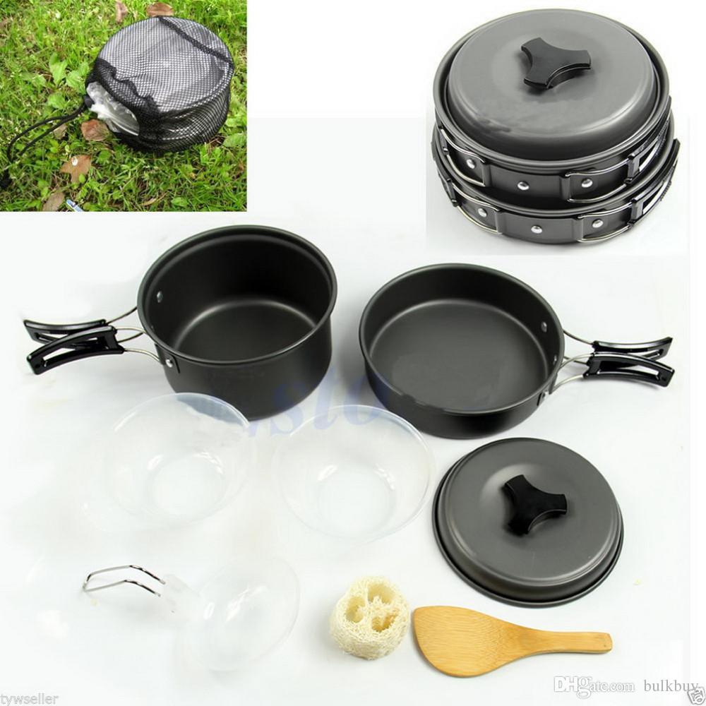 Onfine new arrivel 8pcs Acampar al aire libre Senderismo Utensilios de cocina Cocinar con mochila Picnic Bowl Pot Pan Set (2 ~ 3 personas) al por mayor