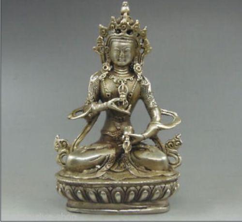 تحصيل مزخرف قديم اليدوى التبت الفضة vajrasattva تمثال بوذا