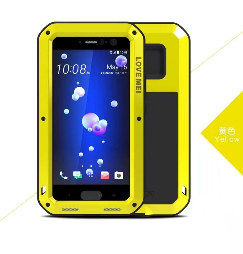 LOVE MEI Résistance aux chutes de verre de gorille Corning + Etui en aluminium blindé pour HTC U11