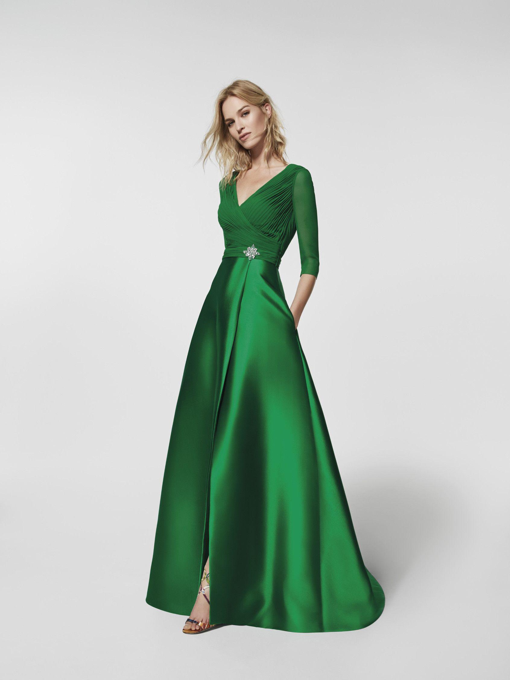 Vert Elegant A-ligne V-cou Robe De Soirée En Mousseline De Soie Top Satin Jupe Large Robes De Fete 3/4 Manches Plis V-back Robe De Bal Fendue Avant