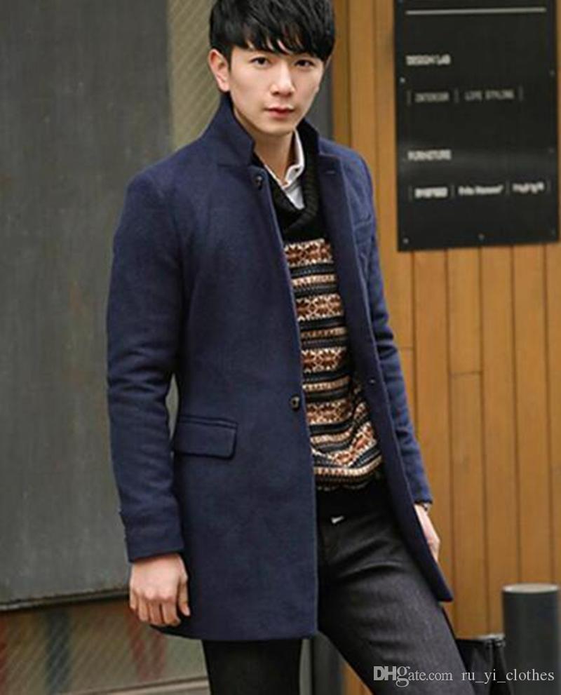 Männer Qiu Dong Han Ausgabe des neuen Trends der Freizeit Mode Kragen England Einreiher Tuch Trenchcoat / M-2XL