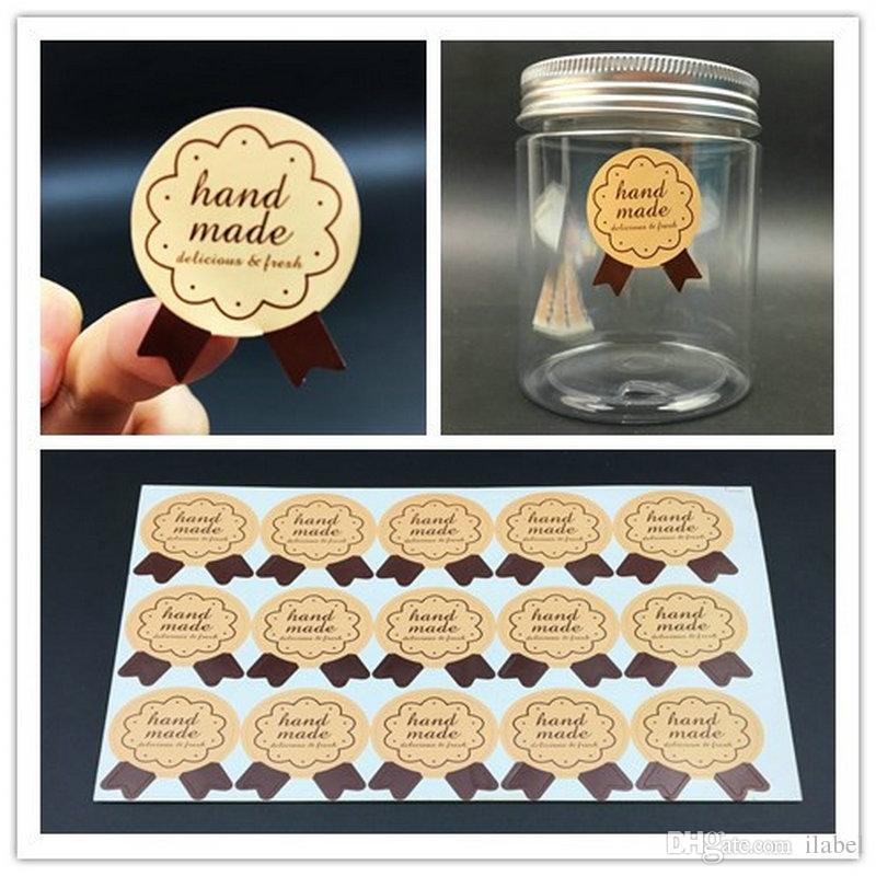 """1200 pz Handmade Sticker 28 * 35mm (1.1 """"x1.38"""") Medaglia Forma Etichetta Adesiva FAI DA TE Fatto A Mano Per Il Regalo di Cottura Della Torta di ..."""