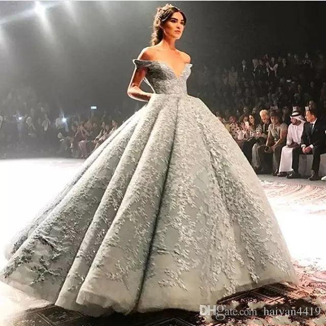 2020 Новый Дубай Arabic Luxury Silver Gray Вечерние платья плеча Длина Полный кружева бисером пола мантии шарика на заказ платье партии мантий выпускного вечера