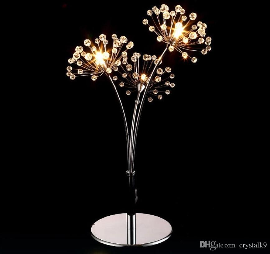 FUMAT Nordic Wedding Bedroom Beside Light Simple Romantic LED Table Lamp Dandelion Creative Modern Crystal Table Lamps